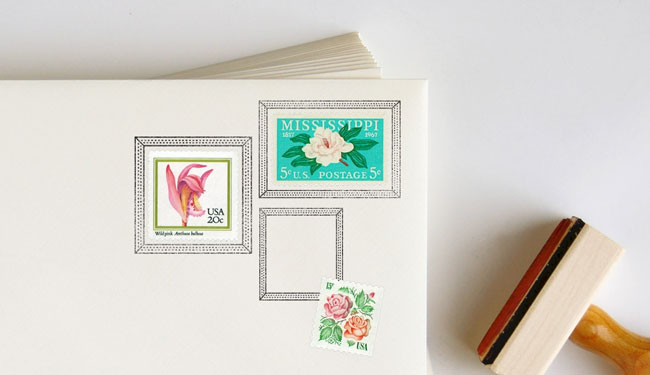 Dotted Postage Frame Rubber Stamps | Anticipate