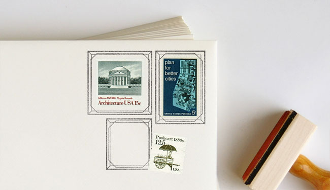 Geometric Postage Frame Rubber Stamps   Anticipate
