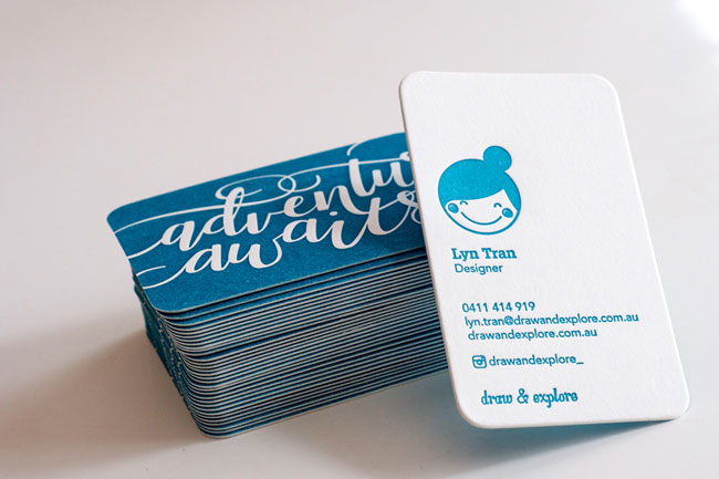 Draw & Explore Hand Lettered Letterpress Business Cards
