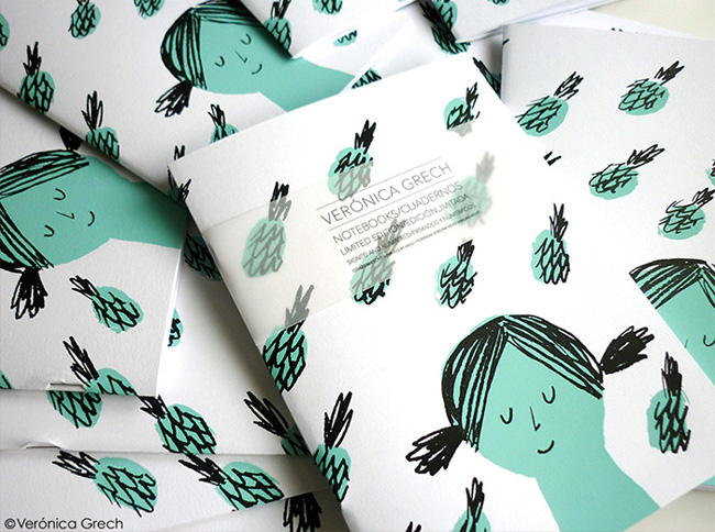 Illustrated & Hand Screen Printed Notebooks by Veronica Grech