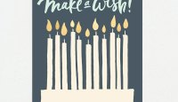 "Navy + Gold Metallic ""Make a Wish"" Birthday Card 