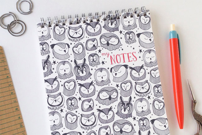 Owl Spiral Bound Notebook by Honizukle