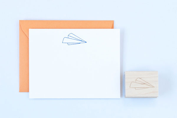 Paper Airplane Rubber Stamp by Felicette
