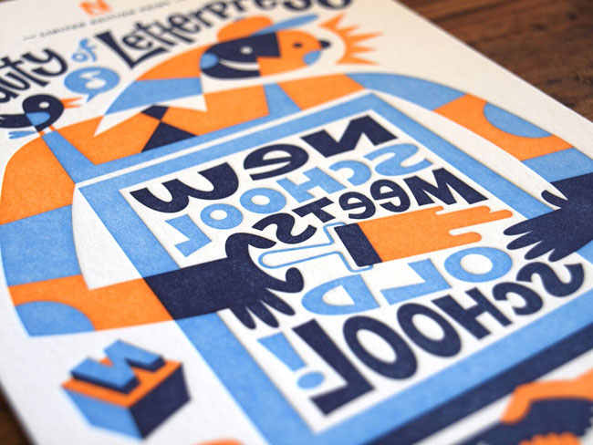 """Old School Meets New School"" Letterpress Print 