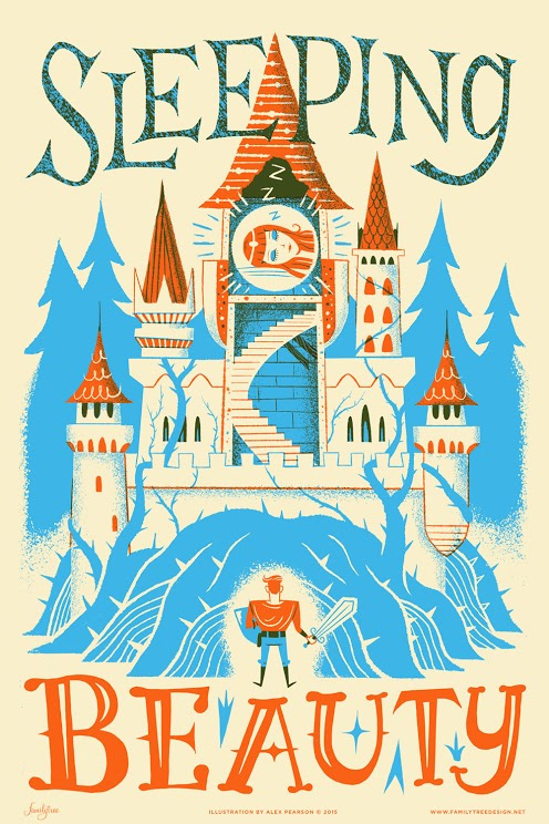 Sleeping Beauty Illustrated Art Print by Alex Pearson