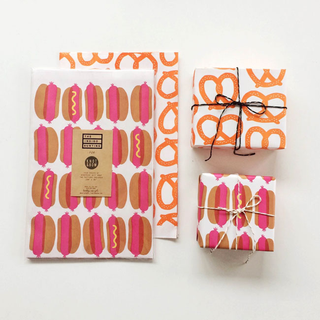 Hot Dog & Pretzel Gift Wrap by Erin Jang / The Indigo Bunting for Knot & Bow