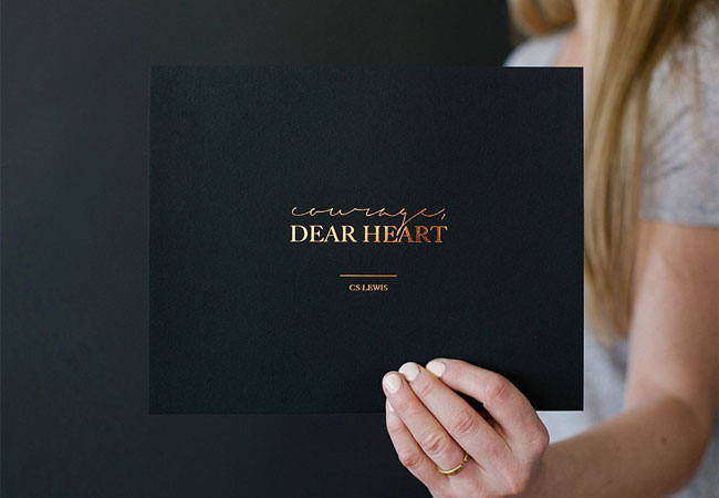 Courage, Dear Heart Copper Foil Print by Seven Swans Stationery