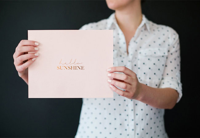 Hello Sunshine Copper Foil Print by Seven Swans Stationery
