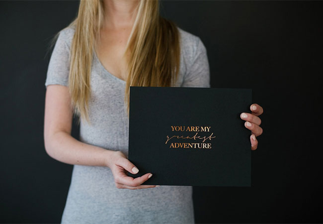 You Are My Greatest Adventure Copper Foil Print by Seven Swans Stationery