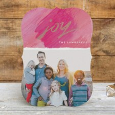 Modern Painterly Joy Foil Holiday Photo Cards by Hooray Creative