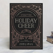 Deco Cheer Foil Business Holiday Cards by Geekink Design