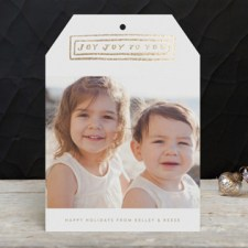 Joy Lettering Foil Holiday Photo Cards by Moglea