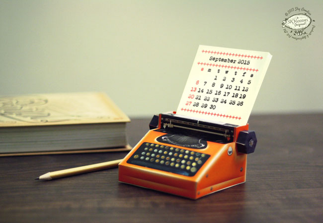 Sky Goodies Paper Typewriter Calendar