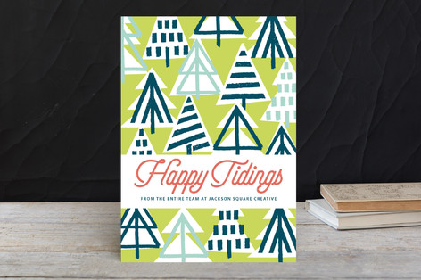 Brushstroke Trees Business Holiday Cards by Daniela