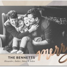 Contemporary Merry Foil Stamped Holiday Photo Cards