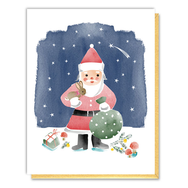 Nature Santa Holiday Card by Driscoll Design
