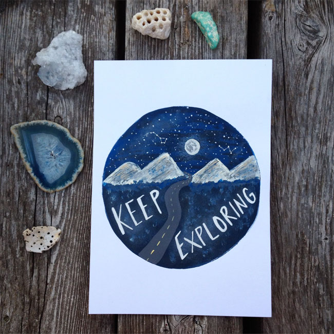 Keep Exploring Hand Lettered Art Print by Megan Richards Art