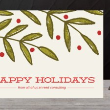 Textured Leaves Business Holiday Cards by K.becca