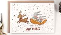 Copper Foil Illustrated Happy Holidays Card by Whimsy Whimsical