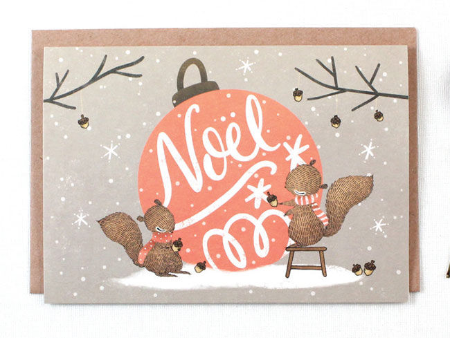 Noel Illustrated Holiday Card by Whimsy Whimsical