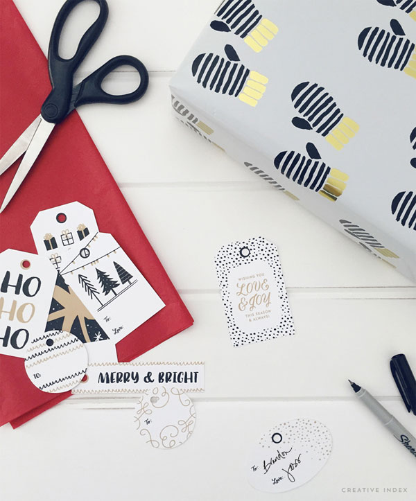 Printable Holiday Gift Tags in 3 Colorways from Creative Index