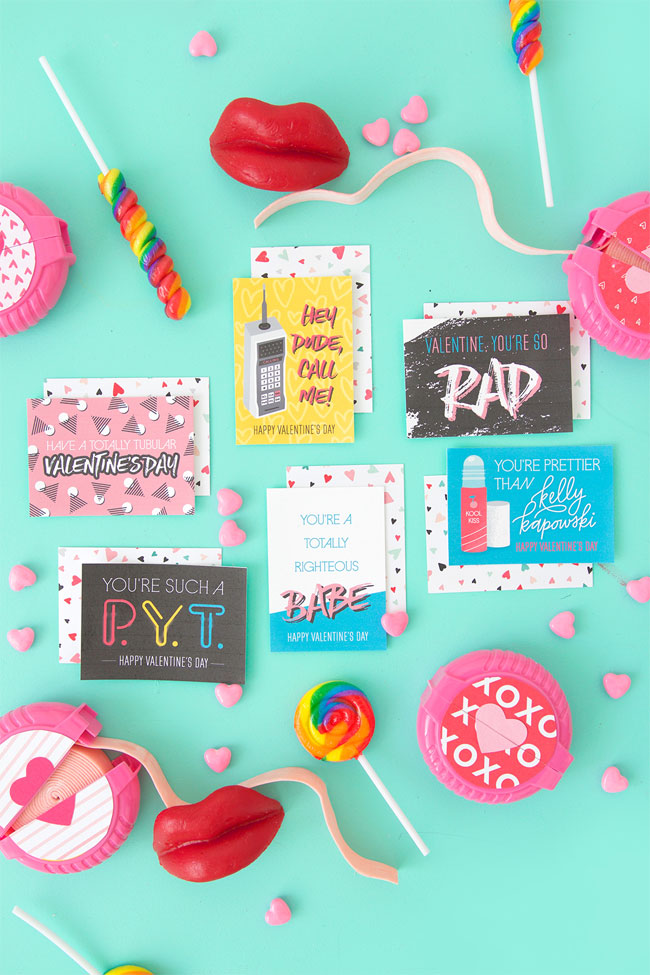 Free Printable 80's Inspired Valentines from Damask Love