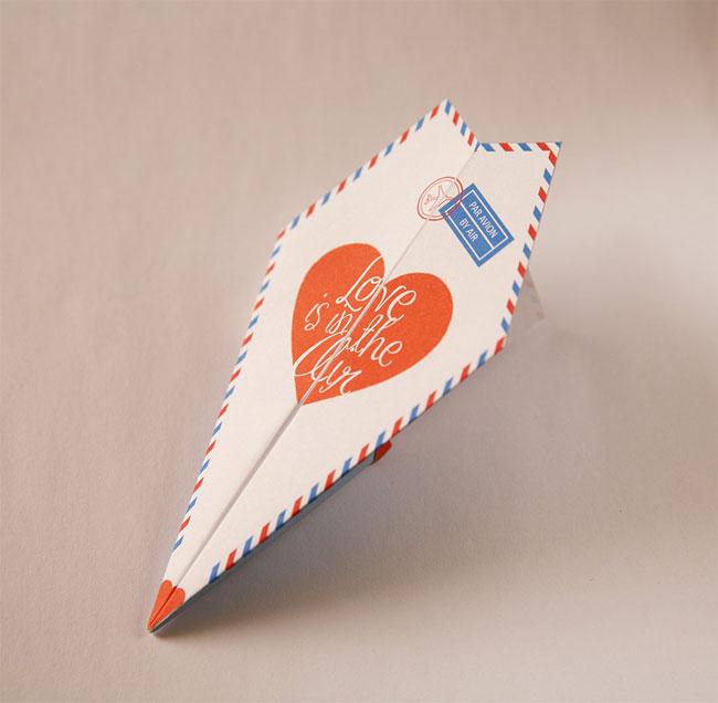 Printable Paper Airplaine Valentine / Love Card