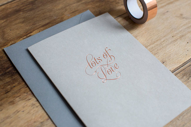 Copper Foil Love Card by Nothing But Lovely