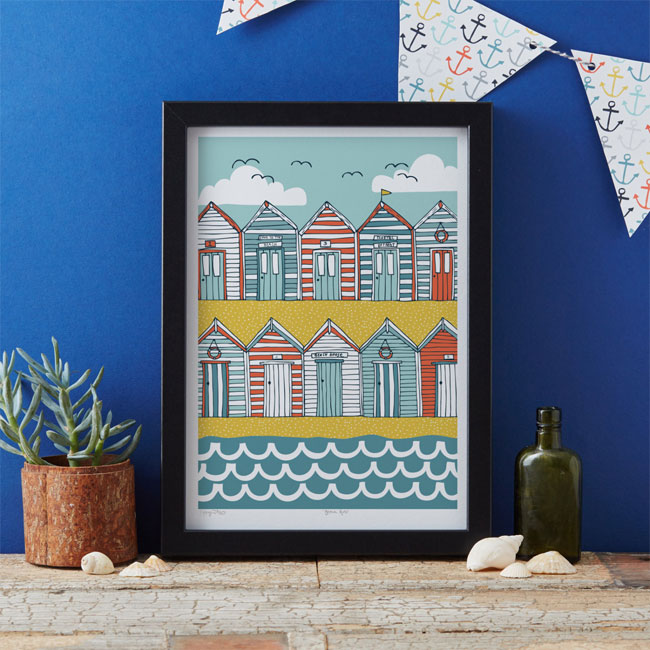 Beach Huts Art Print by Jessica Hogarth
