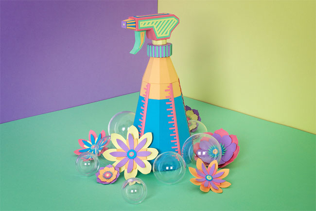 Spring Cleaning Paper Illustration & Paper Sculpture by Zim & Zou