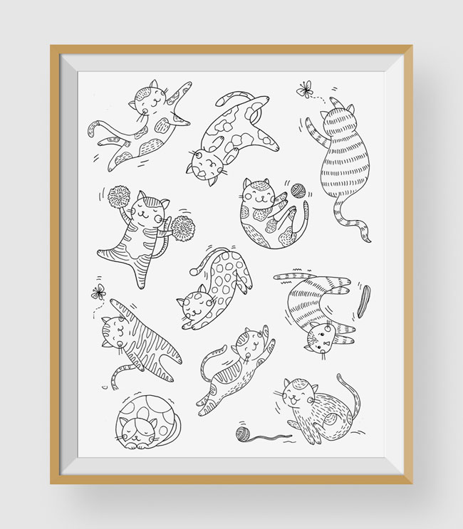 Cats Coloring Art Print by Chic + Nawdie