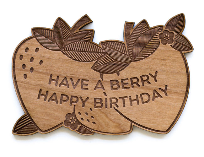 Berry Happy Birthday Real Wood Card by Cardtorial