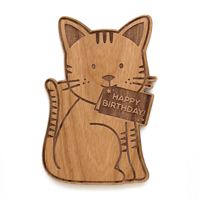Cute Cat Birthday Real Wood Card by Cardtorial