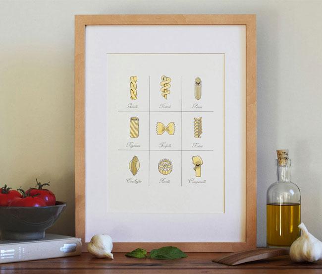 Pasta Letterpress Art Print from Fickle Hill Press