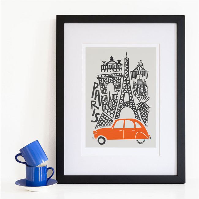 Fox & Velvet Illustrated Paris Art Print