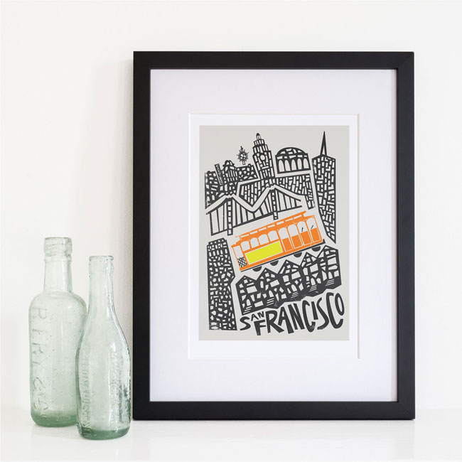 Fox & Velvet Illustrated San Francisco Art Print