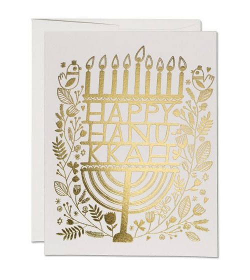 Gold Foil Hanukkah Card by Anke Weckmann for Red Cap Cards