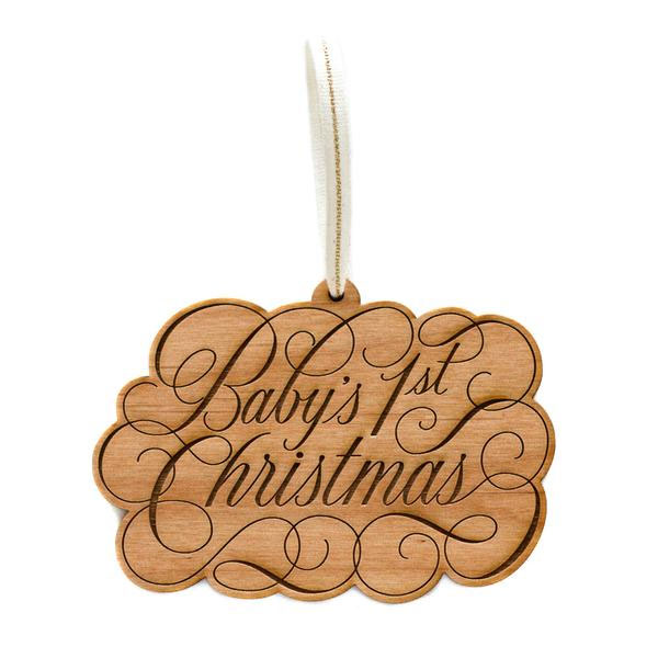 Baby's 1st Christmas Laser Cut Wood Holiday Ornament by Cardtorial
