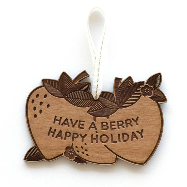 Berry Laser Cut Wood Holiday Ornament by Cardtorial