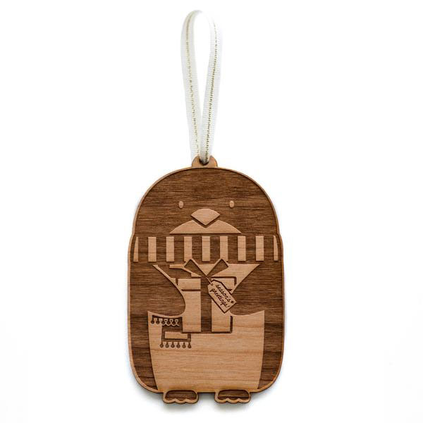 Penguin Laser Cut Wood Holiday Ornament by Cardtorial