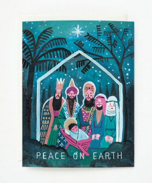 Peace on Earth Nativity Scene Greeting Card by Quill & Fox
