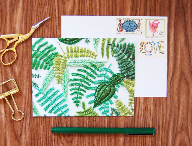 Hand Embroidered Photo Stationery by Hapypy Cactus Designs