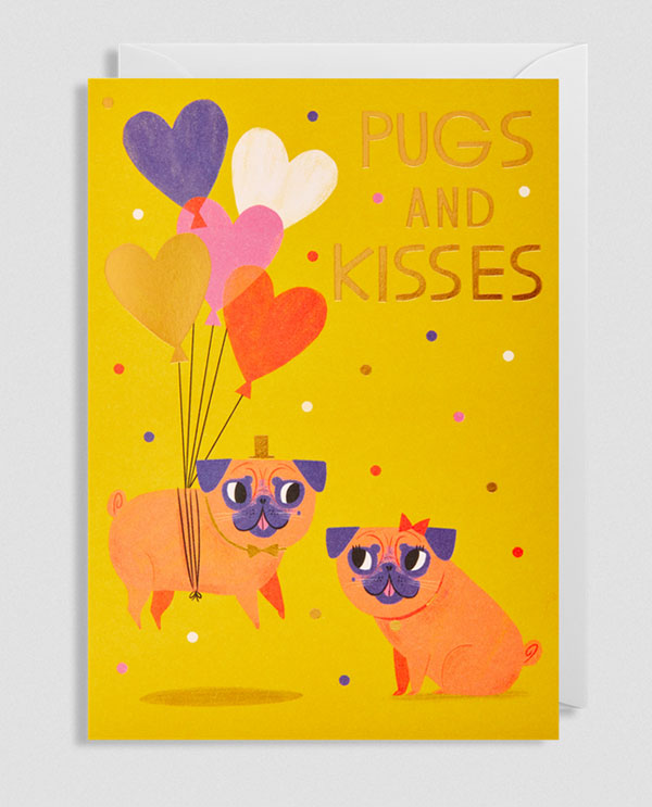Pugs and Kisses Greeting Card by Allison Black for Lagom