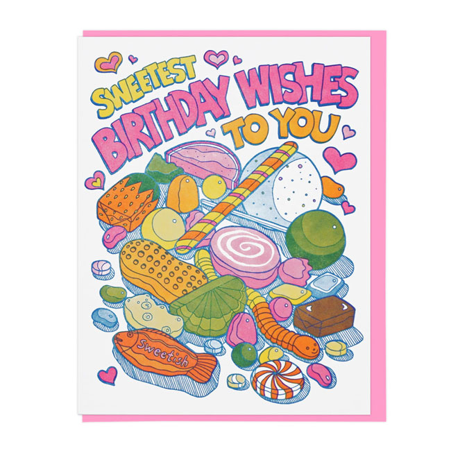Sweets Letterpress Birthday Card   Lucky Horse Press
