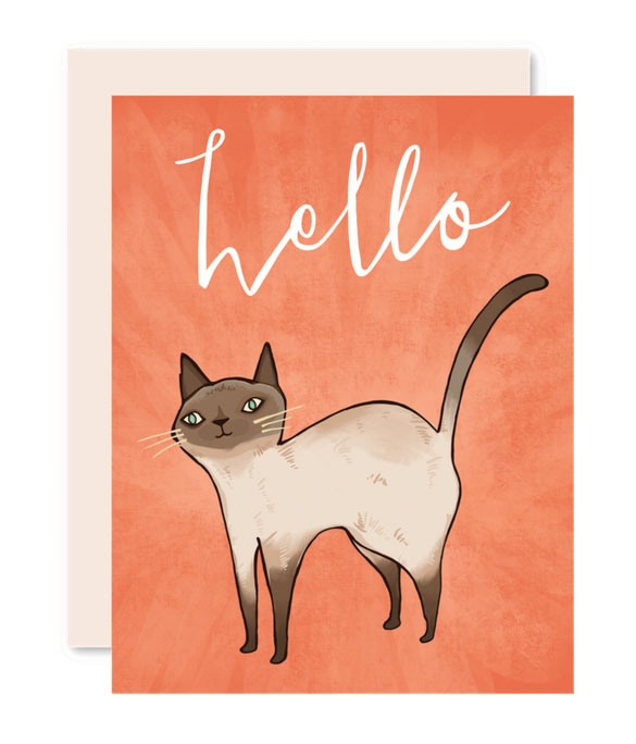 Hello Cat Card by Pencil Joy