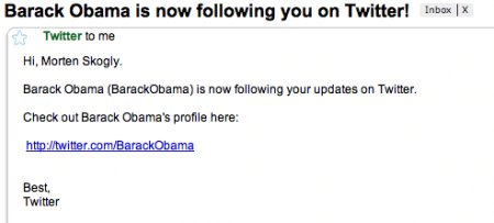 Gmail - Barack Obama is now following you on Twitter! - morten.skogly@gmail.com