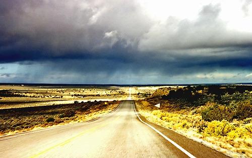 Rain in the desert, Arizona near the Black Mesa