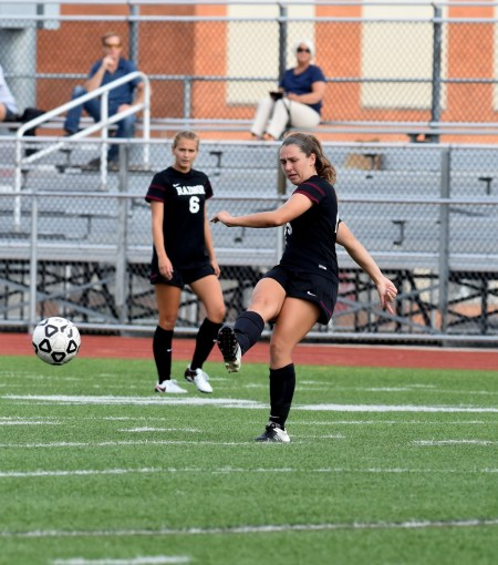 Radnor's Maura Holst tries to connect on a pass against Haverford Tuesday. The Fords successfully limited the All-Delco midfielder in a 1-0 Haverford win. (Digital First Media/Anne Neborak)