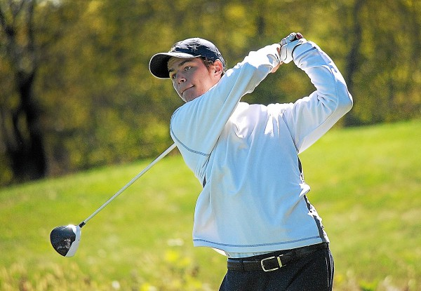 Wissahickon's Matt Graeff tees off during District One golf championship at Turtle Creek Golf Club in Limerick Monday. (Gene Walsh - Digital First Media)