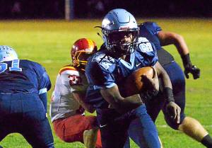 Bob Raines--Digital First Media Nick Dillon scores for North Penn during the Nov. 4, 2016home game against Haverford.